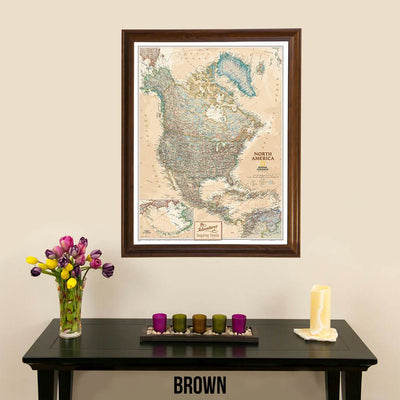 Canvas Executive North America Push Pin Travel Map Brown Frame