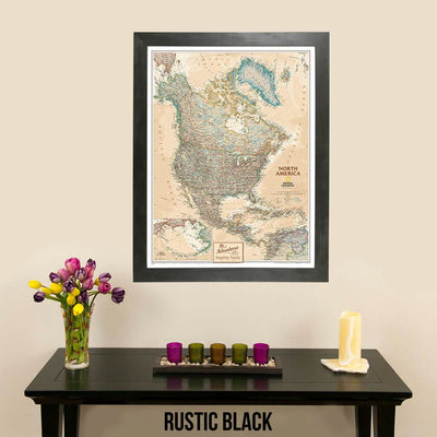 Canvas Executive North America Push Pin Travel Map Rustic Black Frame