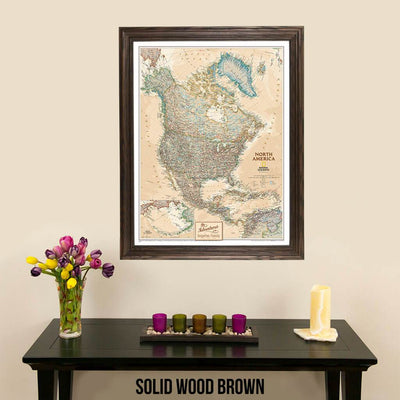 Canvas Executive North America Push Pin Travel Map Solid Wood Brown Frame