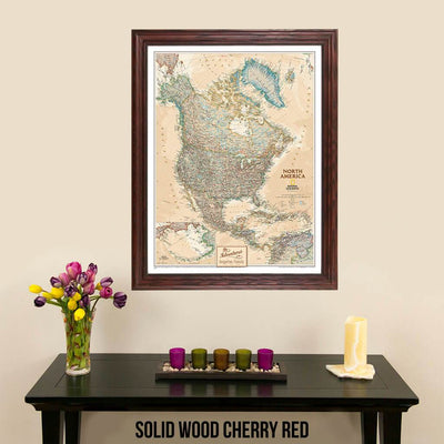 Canvas Executive North America Push Pin Travel Map Solid Wood Cherry Frame