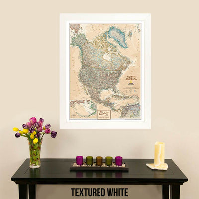 Canvas Executive North America Push Pin Travel Map Designer Textured White Frame
