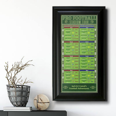 Football Stadiums Bucket List Black Frame