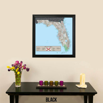 Earth Toned Florida State Map Black Frame
