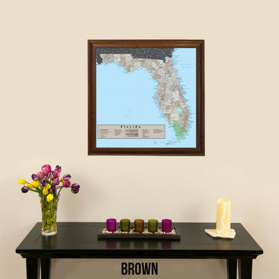 Earth Toned Florida State Map Brown Frame