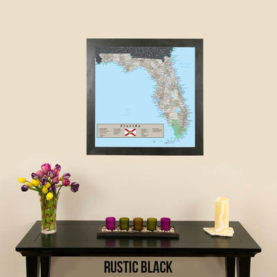 Earth Toned Florida State Map Rustic Black Frame