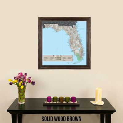 Earth Toned Florida State Map Solid Wood Brown Frame