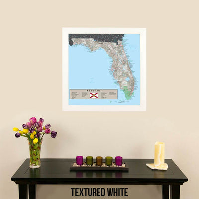 Earth Toned Florida State Map Textured White Frame