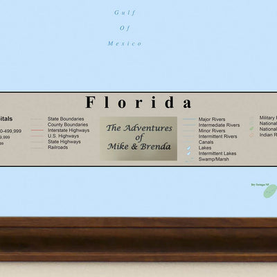 Earth Toned Florida State Map personalized plaque location