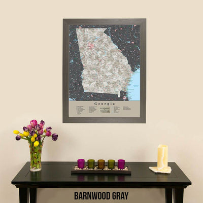 Earth Toned Georgia State Travel Map Barnwood Gray Frame