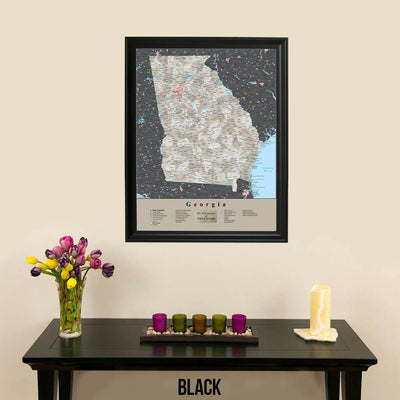Earth Toned Georgia State Travel Map Black Frame