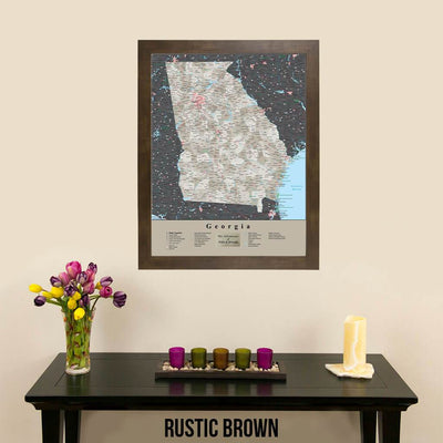 Earth Toned Georgia State Travel Map Rustic Brown Frame