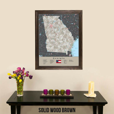 Earth Toned Georgia State Travel Map Solid Wood Brown Frame