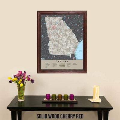 Earth Toned Georgia State Travel Map Solid Wood Cherry Frame