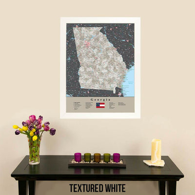 Earth Toned Georgia State Travel Map Textured White Frame