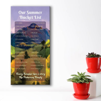 Create your own bucket list - mountain watercolor background
