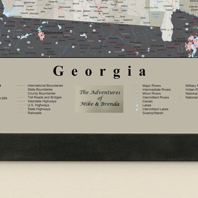 Earth Toned Georgia State Travel Map Plaque Location