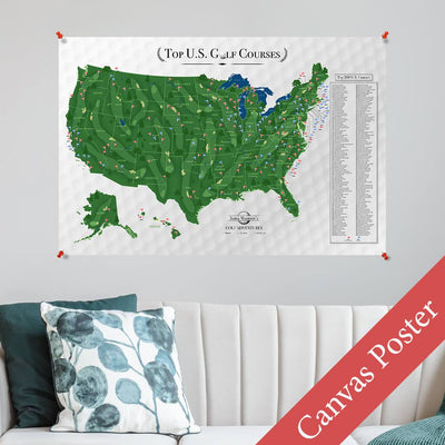 Custom Canvas Map Poster of US Golf Courses - Multiple Sizes