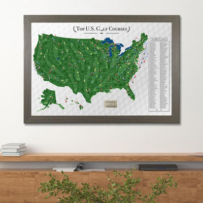 USA's Top 200 Golf Courses Pinboard Map in Barnwood Gray Frame