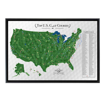 Gallery Wrapped Canvas Top US Golf Courses Map in Black Float Frame