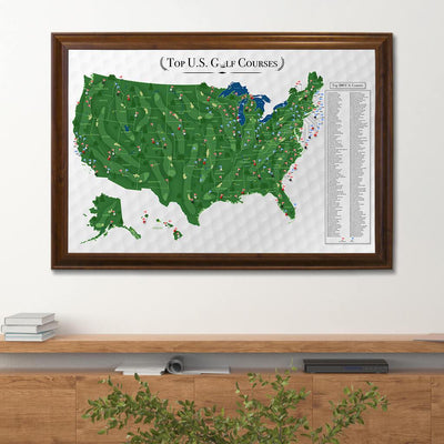 Top 200 US Golf Courses Push Pin Travel Map with Pins in Brown Frame