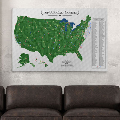 30x45 Gallery Wrapped Canvas Top US Golf Courses Map