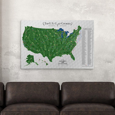 24x36 Gallery Wrapped Canvas Top US Golf Courses Map