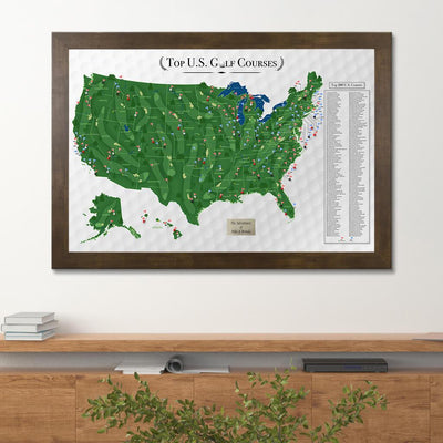 Top 200 US Golf Courses Push Pin Travel Map with Pins Rustic Brown Frame