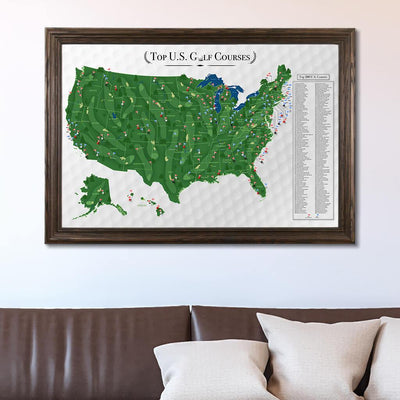 Top 200 US Golf Courses Push Pin Travel Map with Pins in Solid Wood Brown Frame