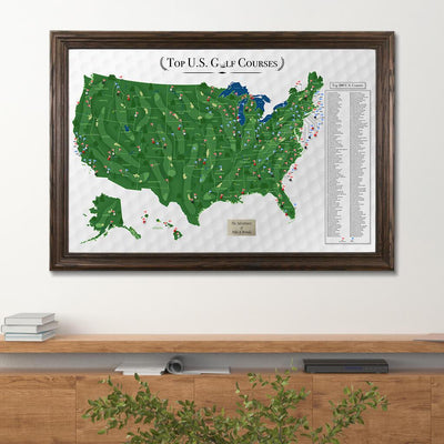 US Golf Course Map in Solid Wood Brown Frame