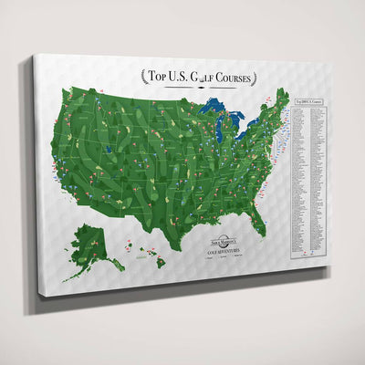 Gallery Wrapped Canvas Top US Golf Courses Map with Pins Sideview