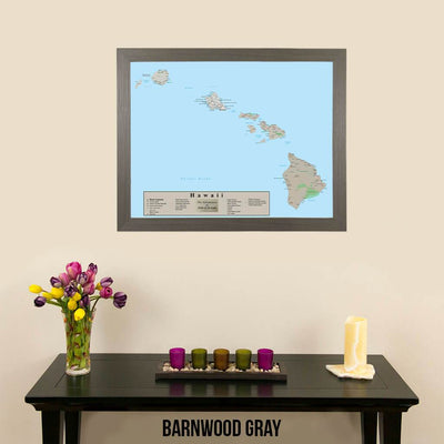 Earth Toned Hawaii State Travel Map Barnwood Gray Frame
