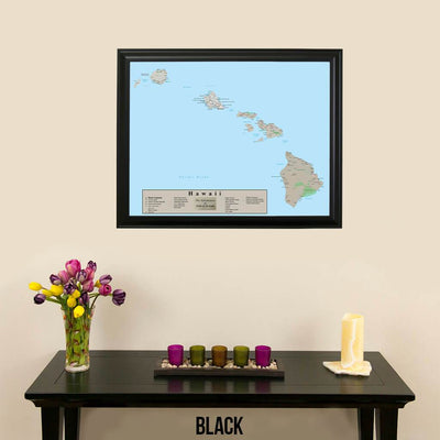 Earth Toned Hawaii State Travel Map with pins Black Frame