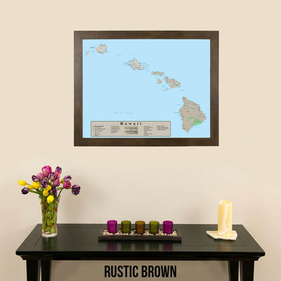 Earth Toned Hawaii State Travel Map Rustic Brown Frame