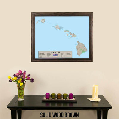 Earth Toned Hawaii State Travel Map Solid Wood Brown Frame