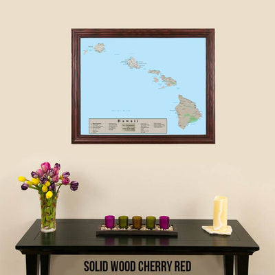 Earth Toned Hawaii State Travel Map Solid Wood Cherry Frame