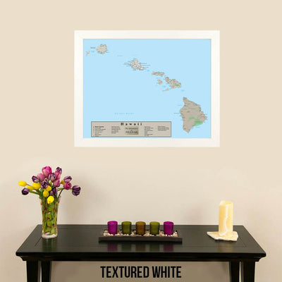 Earth Toned Hawaii State Travel Map Textured White Frame