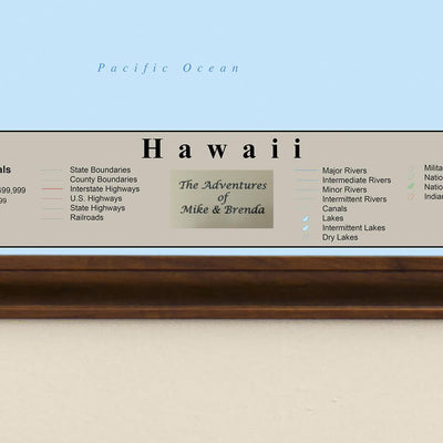 Earth Toned Hawaii State Travel Map Plaque Location