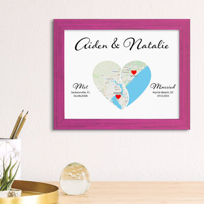 Yin Yang Custom Canvas Map Print in Solid Wood Carnival Pink Frame