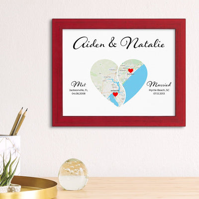 Yin-Yang 2 Heart Halves Map Art in Carnival Red Frame