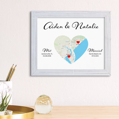 Yin-Yang 2 Heart Halves Map Art in Carnival White Frame