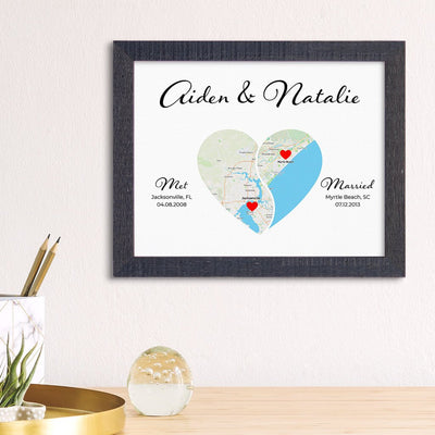 Yin-Yang Heart Shaped Map Print Madison Black Real Wood Frame