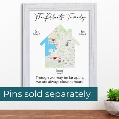 Custom Metal Push Pin Examples on Family Map House Art