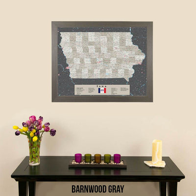 Earth Toned Iowa Push Pin Travel Map with Pins Barnwood Gray Frame