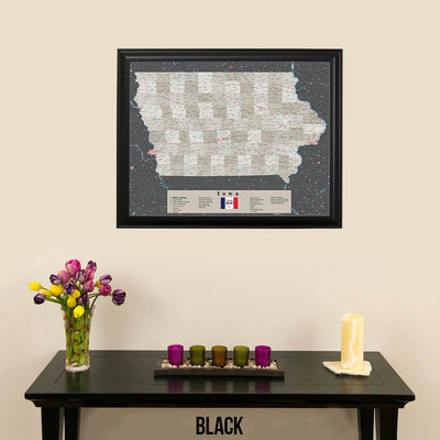 Earth Toned Iowa Push Pin Travel Map with Pins Black Frame