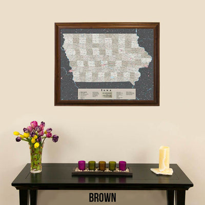 Earth Toned Iowa Push Pin Travel Map with Pins Brown Frame