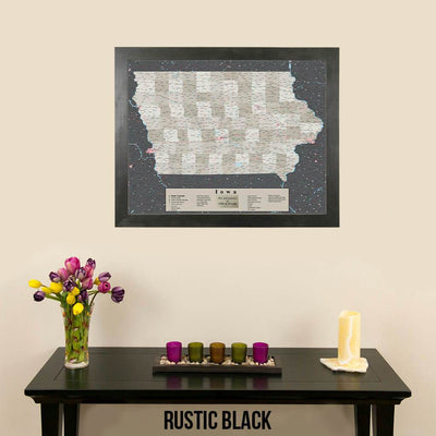 Earth Toned Iowa Push Pin Travel Map with Pins Rustic Black Frame