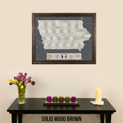 Earth Toned Iowa Push Pin Travel Map with Pins Solid Wood Brown Frame