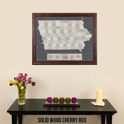 Earth Toned Iowa Push Pin Travel Map with Pins Solid Wood Cherry Frame