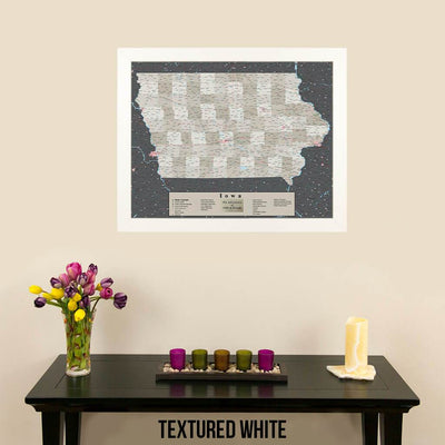 Earth Toned Iowa Push Pin Travel Map with Pins Texture White Frame