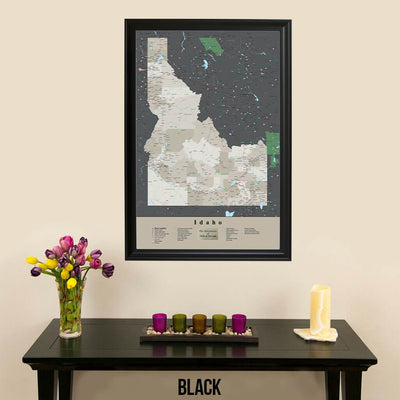 Earth Toned Idaho State Push Pin Travel Map Black Frame